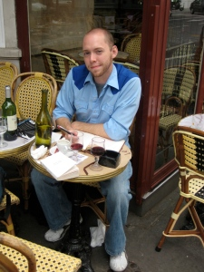 Here's the obligatory Writer-at-Paris-cafe photo
