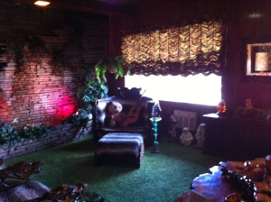 The Jungle Room. Note the shag carpet and fake fur on the chairs.