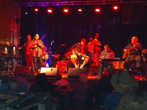 The Time Jumpers. Lighting was obviously not good for photos, but that's Vince Gill in the middle with the guitar.