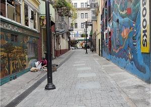 Looking down Kerouac Alley toward Chinatown