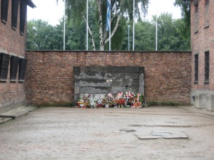 A wall against which people were shot, before the gas chambers were built