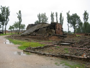 The remains of a gas chamber and crematorium. The Nazis razed the buildings when they fled the Russians—an attempt to destroy evidence