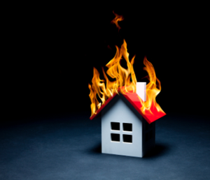 Aw, how cute: a tiny house burning down!